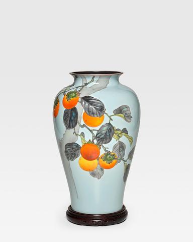 Ando Jubei (1876-1953) A fine moriage cloisonné-enamel vaseTaisho era (1912-1926), circa 1920