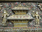 A large gilt-metal filigree and inset stone votive plaque Nepal, 19th/20th century