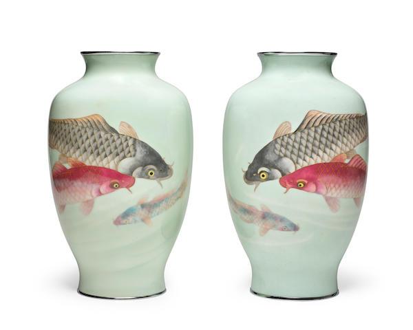 A pair of cloisonné-enamel vases Attributed to the Ando workshopTaisho era (1912-1926), circa 1920