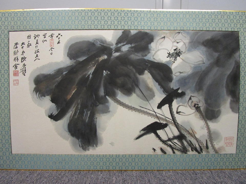 Zhang Daqian (1899-1983)  Ink Lotus, 1976