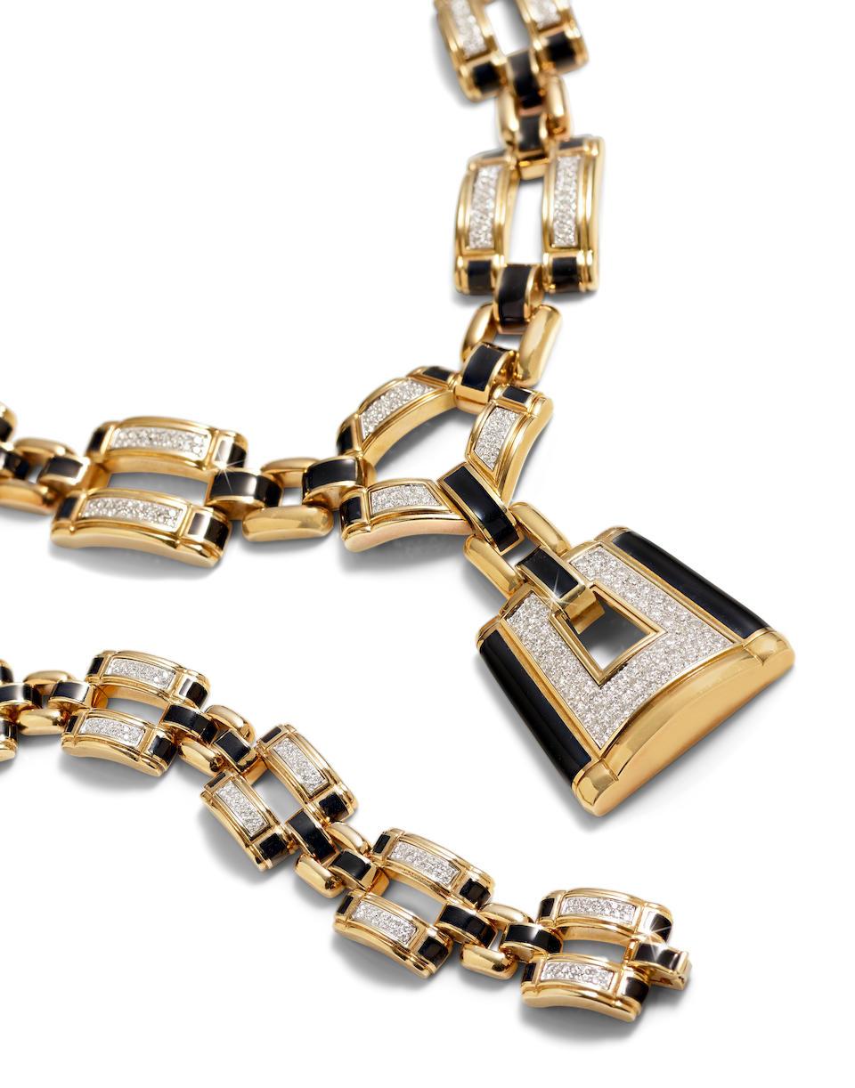 An enamel and diamond pendant necklace/bracelets, David Webb