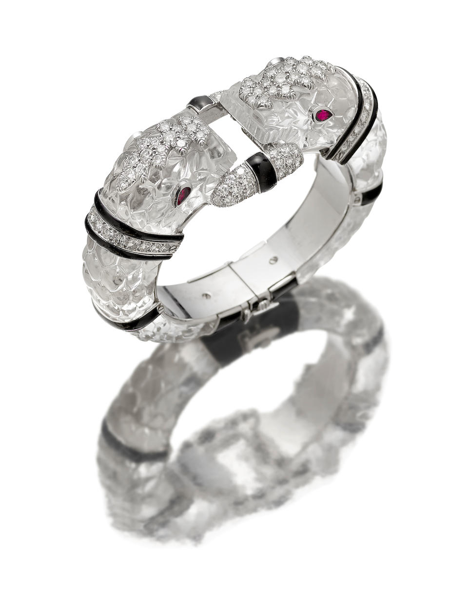 A rock crystal, diamond and ruby bangle, David Webb