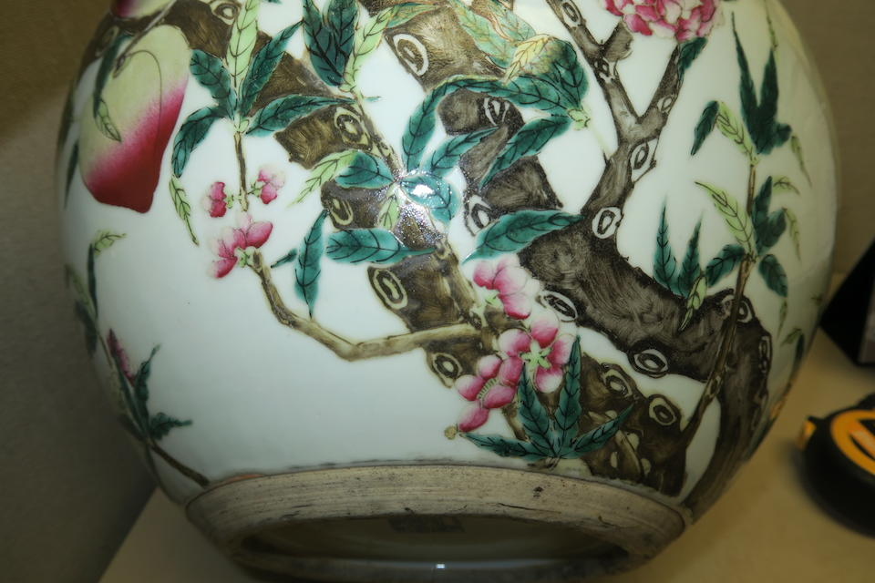 A large famille-rose stick neck vase, tianqiuping Qianlong mark, late Qing dynasty