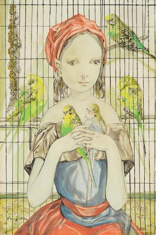 LÉONARD TSUGUHARU FOUJITA (1886-1968) Fillette aux perruches 13 1/8 x 8 3/4 in (33.3 x 22.2 cm) (Painted in 1956)