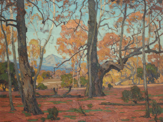 William Wendt (1865-1946) Patriarchs of the Grove 40 x 50in overall: 51 1/4 x 61 1/4in (Painted in 1920)