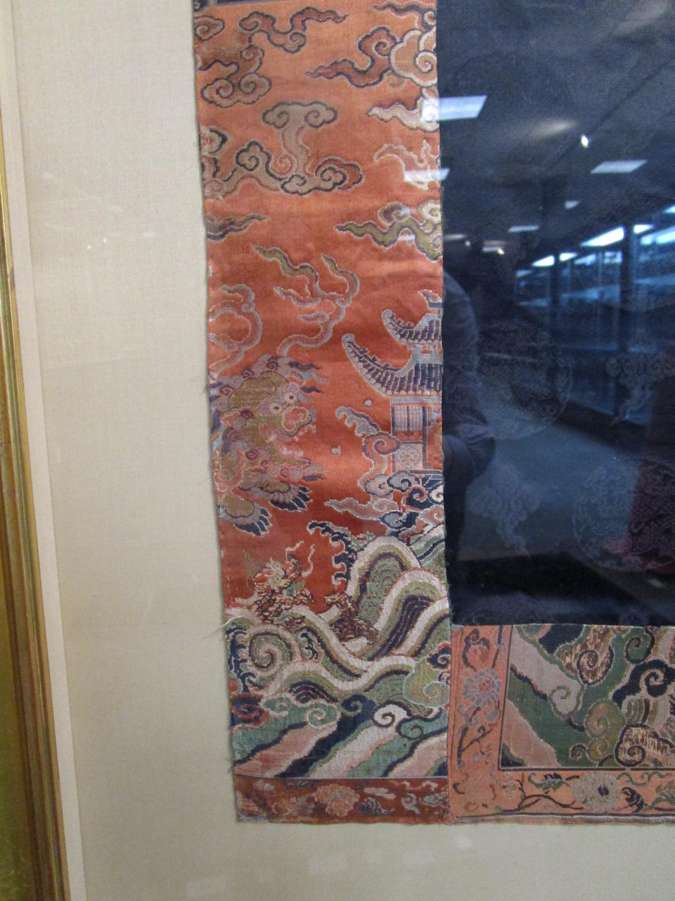 An uncut fragment of a midnight-blue brocade formal court robe, Chaofu 18th century