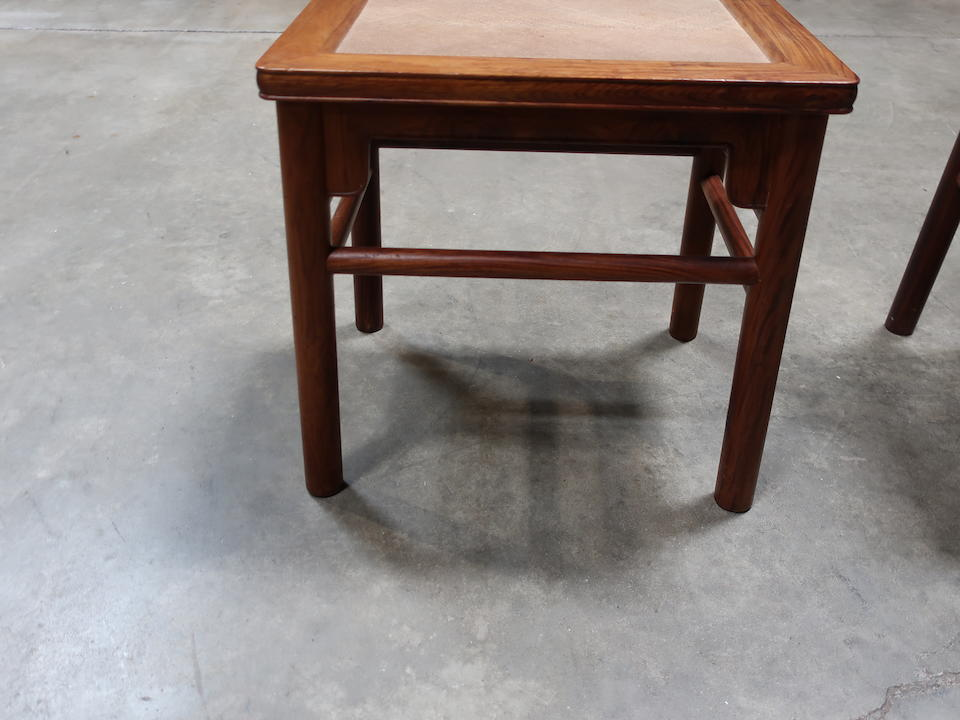 A pair of huanghuali rectangular stools Late Qing/Republic Period