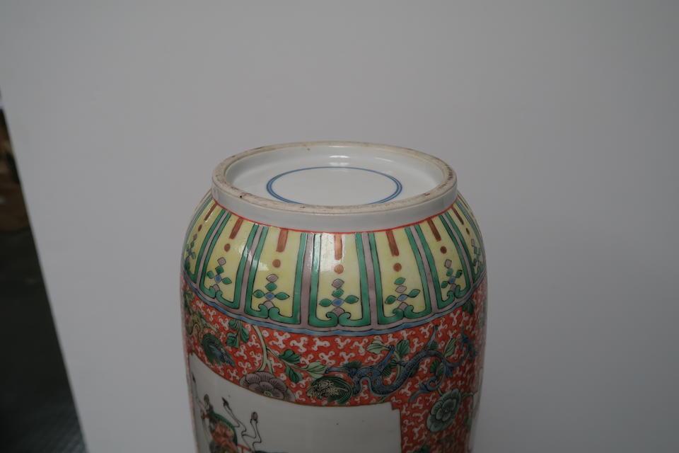 A pair of famille verte enameled rouleau vases  Republic period