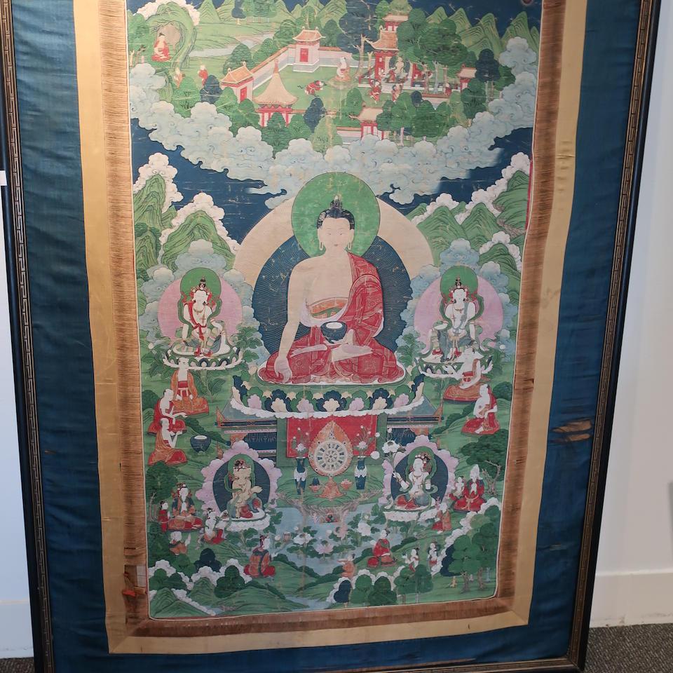 A thangka of Buddha Tibet, 18th century