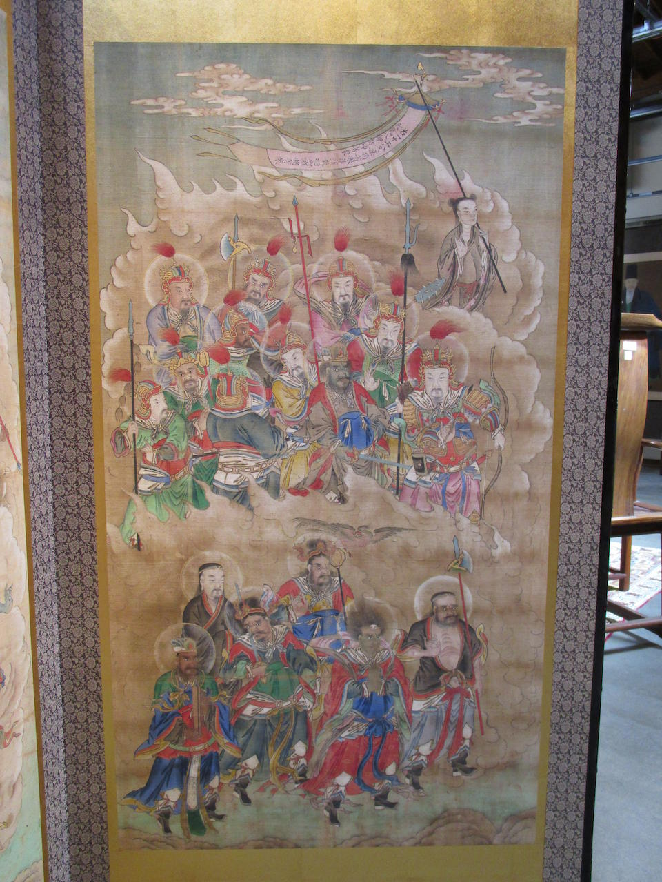 Anonymous (19th/20th century) Two Water Ritual paintings mounted as a folding screen