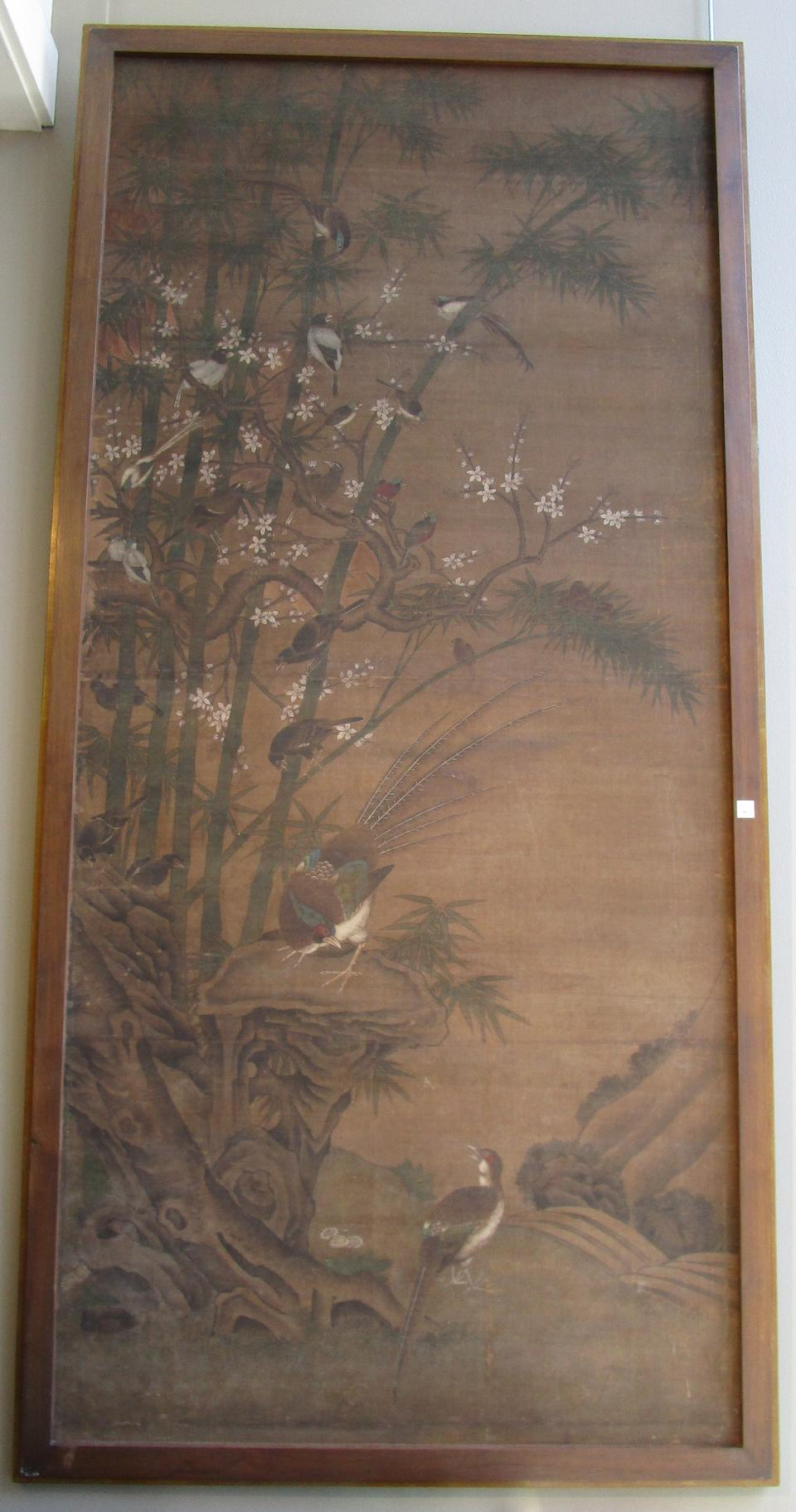 Anonymous (Qing dynasty) A large painting of Birds, Flowers and Bamboo