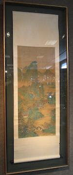 Attributed to Zhang Jing (Qing dynasty) Blue-and-Green Landscape with Scholars
