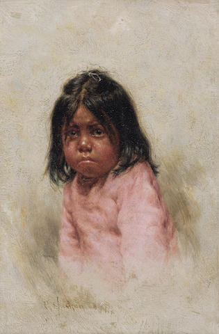 Grace Carpenter Hudson (1865-1937) Untitled (Head, Little Upper Lake Girl) 5 3/8 x 3 11/16in overall: 9 x 7in (Painted in 1897)