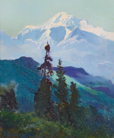 Sydney Laurence (1865-1940) A view of Mount McKinley, Alaska 11 7/8 x 9 7/8in overall: 16 x 14in