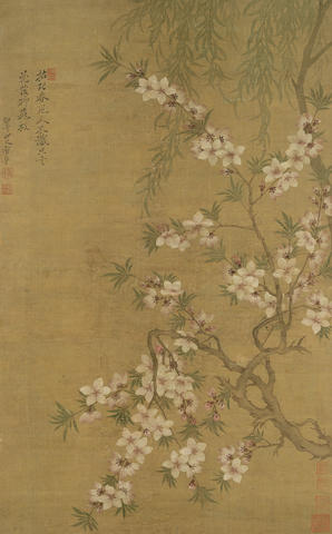 Attributed to Yun Shouping (1633-1690)  Willow and Blossoms