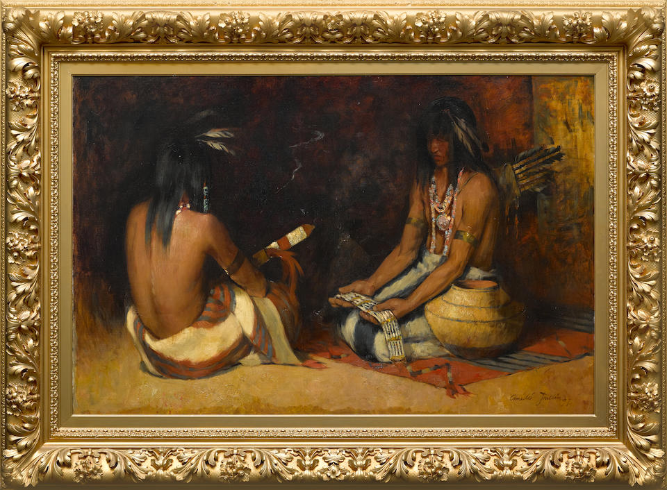 Amédée Joullin (1862-1917) The Passing of the Wampum Belt 36 1/2 X 57 1/4in (Painted in 1897.)