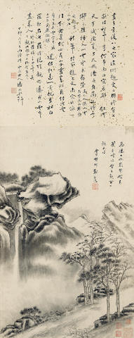 Attributed to Fan Qi (1616-ca. 1694)  Gazing at Waterfall
