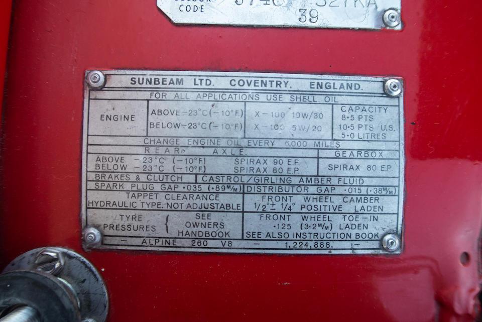 <b>1965 Sunbeam Tiger</b><br />Chassis no. 9472772HR0FE
