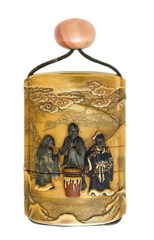 Baitokusai Bairin (active 19th century) A five-case metal-inlaid lacquer inroEdo period (1615-1868), 19th century