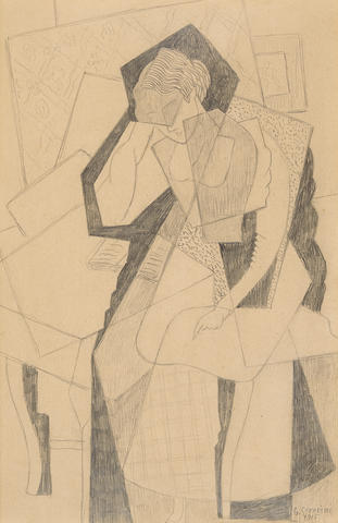 GINO SEVERINI (1883-1966) Femme lisant 11 3/4 x 7 5/8 in (29.9 x 19.6 cm)  (Executed in 1915)