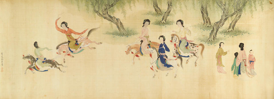 After Qiu Ying (1494-1551/2) One Hundred Beauties, 19th century