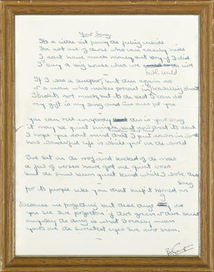 "THE ORIGINAL HANDWRITTEN LYRICS TO ELTON JOHN'S ""YOUR SONG"""
