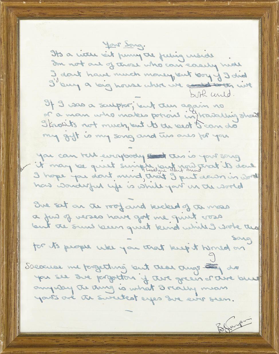 "THE ORIGINAL HANDWRITTEN LYRICS TO ELTON JOHN'S ""YOUR SONG"""