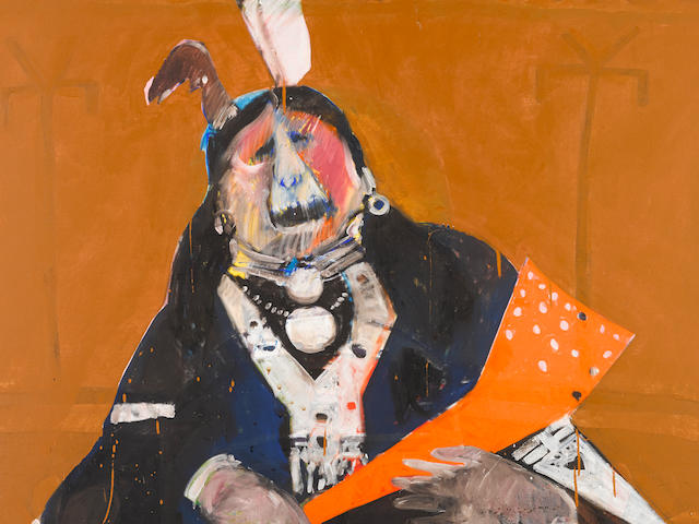 "A Fritz Scholder painting, ""Screaming Indian,"" 1970"