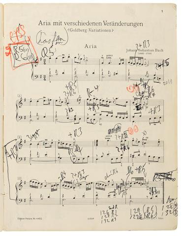 """GOULD, GLENN. 1932-1982. Glenn Gould's extensively annotated copy of Bach's Goldberg Variations (""""Klavierübung IV.Teil Aria Mit verschiedenen Veränderungen 'Goldberg-Variationen',"""""""