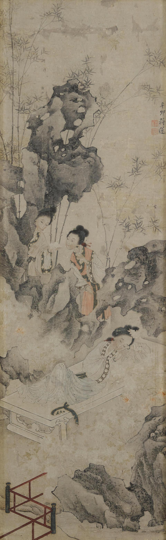 Jiang Lian (active circa 1818-1850)  Figures in a Garden, 1831