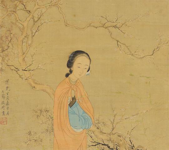 Gai Qi (1774-1829) Woman under a Tree, 1827