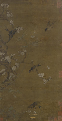Anonymous (19th century) Sparrows with plum and bamboo