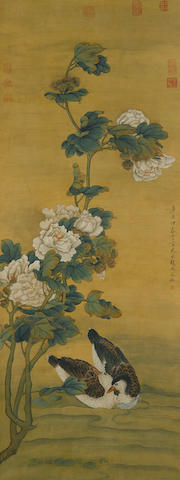 After Zhao Wenshu (1595-1634)  Hibiscus and Ducks