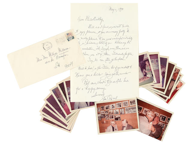 A James Cagney handwritten letter to William Wellman with personal color snapshots