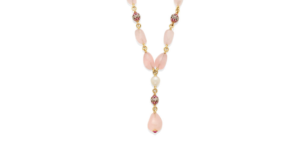 A rose quartz bead, cultured pearl, ruby, diamond and 18k gold necklace, Verdura