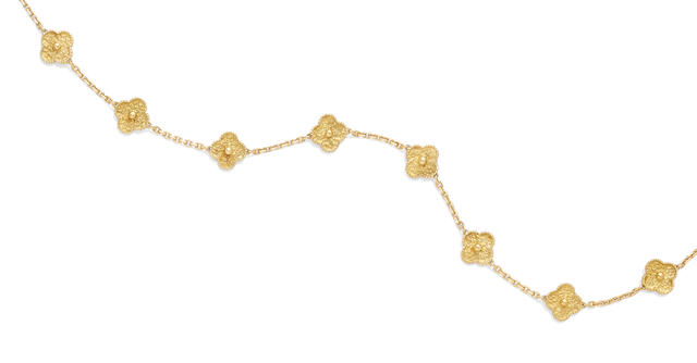 An 18k gold 'Alhambra' necklace, Van Cleef & Arpels, New York