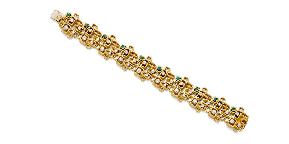 An emerald, diamond and gold bracelet, Walter Schluep