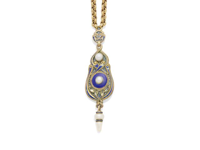 A sapphire, pearl, lapis lazuli, Plique-à-jour, enamel and gold pendant necklace, Marcus & Co.,