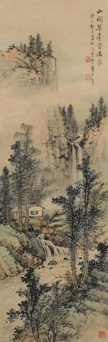 Huang Junbi (1898-1991)  Mountain Cabin by the Waterfall, 1953