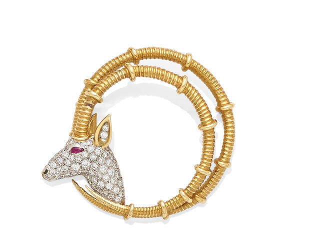 A Diamond, Ruby and 18k bi-color Gold 'Ibex' Brooch, Schlumberger for Tiffany & Co.