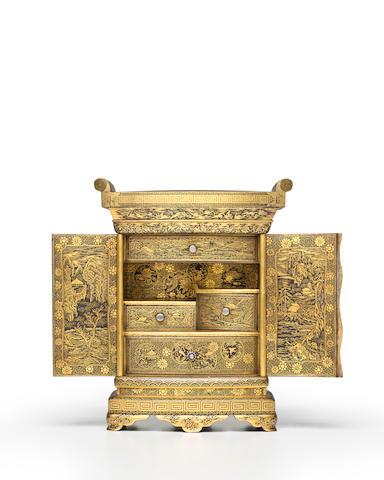 KOMAI OTOJIRŌ 駒井音次郎 (1842–1917) An Iron and Gold Miniature Cabinet山水花鳥図布目象嵌鉄小箪笥Meiji era (1868–1912), circa 1895–1905