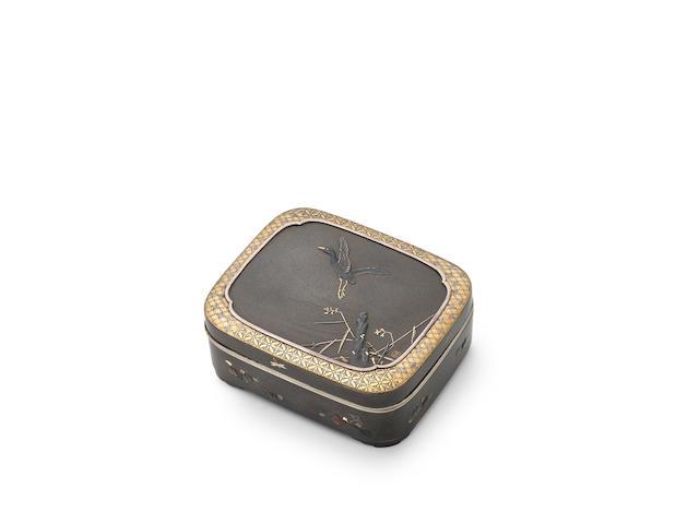SUZUKI MICHIHIRO 鈴木道廣 (active circa. 1890) A Shibuichi Cigarette Box蘆雁図彫金四分一莨箱Meiji era (1868–1912) late 19th–early 20th century