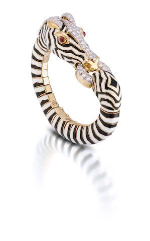 An enamel, diamond and ruby bracelet, David Webb