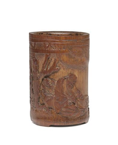 A BAMBOO 'LI BAI' BRUSHPOT 18th/19th century