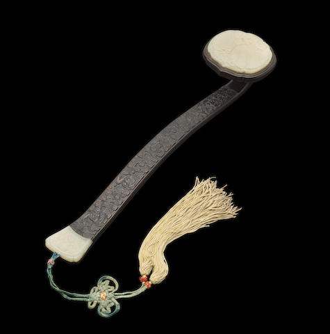 A CELADON JADE MOUNTED ZITAN RUYI SCEPTER 19th century