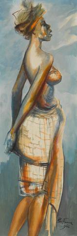 Benedict Chukwukadibia Enwonwu M.B.E (Nigerian, 1917-1994) Profile portrait of a woman wearing a headscarf