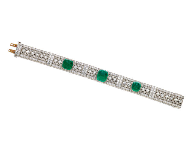 An emerald and diamond bracelet, Tiffany & Co.,