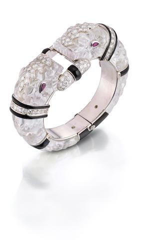 A rock crystal, diamond and ruby bangle, David Webb