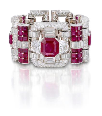 An Art Deco ruby and diamond bracelet, Van Cleef & Arpels,