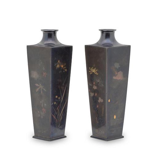 NOGAWA COMPANY (CIRCA 1890) A pair of miniature mixed-metal vasesMeiji era (1868-1912), late 19th century
